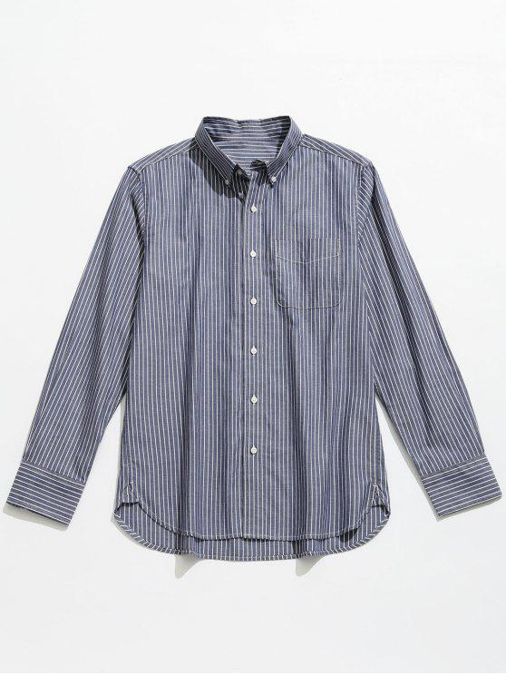 best Striped Cotton Long Sleeve Shirt - BLUE GRAY L