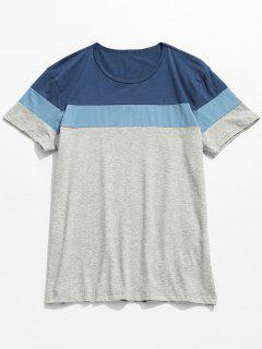 Contrast Color Block Short Sleeve Tee - Blue 3xl