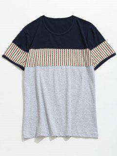Short Sleeve Contrast Striped Panel T-shirt - Deep Blue Xl
