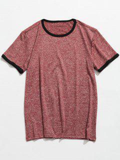 Space Dye Kurzarm T-Shirt - Bohne Rot 4xl