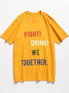 Slogan Letter Pattern Cotton T-shirt - Mustard M