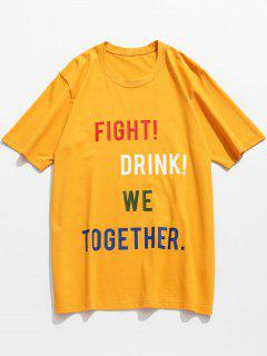 Slogan Letter Pattern Cotton T-shirt - Mustard L