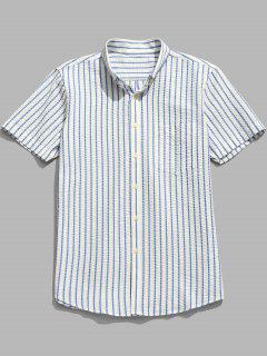 Striped Short Sleeve Cotton Shirt - Light Sky Blue L