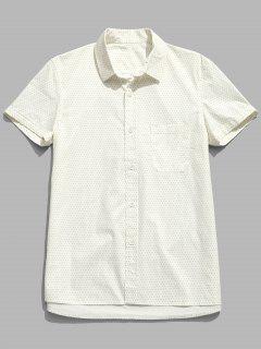 Chemise à Pois à Manches Courtes En Coton - Crème 3xl