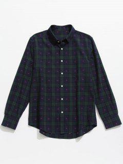 Button Up Plaid Long Sleeve Shirt - Deep Blue M