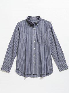 Striped Cotton Long Sleeve Shirt - Blue Gray 3xl