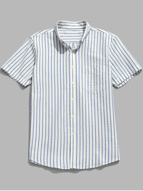 hot Striped Short Sleeve Cotton Shirt - LIGHT SKY BLUE 2XL Mobile