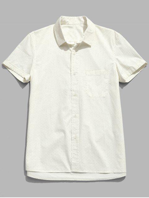 Kurzärmliges Polka Punkt Baumwolle Shirt - Sahne 2XL Mobile