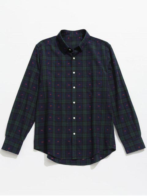 women's Button Up Plaid Long Sleeve Shirt - DEEP BLUE 2XL Mobile