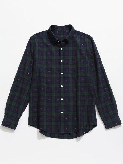 50b4e929b78b4 Button Up Plaid Long Sleeve Shirt - Deep Blue 2xl