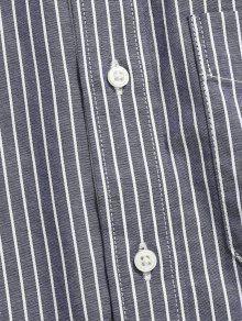 Gris De L De A Manga Algod Azulado Rayas 243;n Camisa Larga x4wOx8