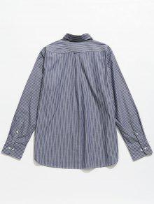De L 243;n Algod Manga Azulado Gris A De Larga Rayas Camisa TWU1B1