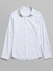 قميص طويل الأكمام مطبوعة - أبيض M