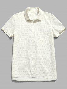 قميص من القطن بأكمام قصيرة منقط بنقاط البولكا - كريم M