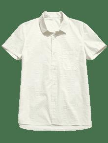 243;n Con De Algod Camisa De M Cream Mangas Lunares Cortas ATWT6I7
