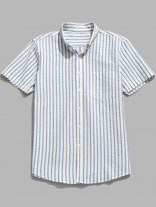 قميص مقلم كم قصير من القطن - ضوء السماء الزرقاء Xl