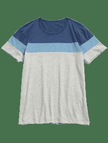 Camiseta Contraste Color De Con Corta En Bloque Azul Xl De Manga FwrqxFH