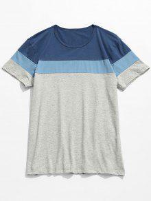 Color Contraste De Con Corta De En Manga Azul Xl Bloque Camiseta THXYq8nx6