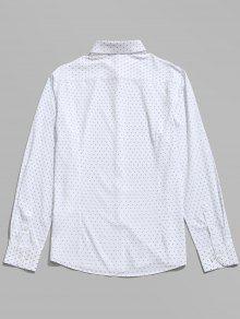 Blanco Estampada M De Camisa Manga Larga 8xFwRq