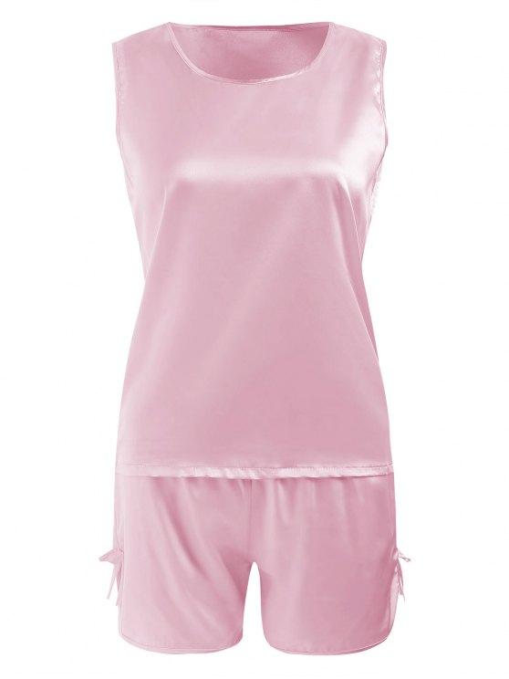 shop Comfy Satin Sleepwear Set - LIGHT PINK M