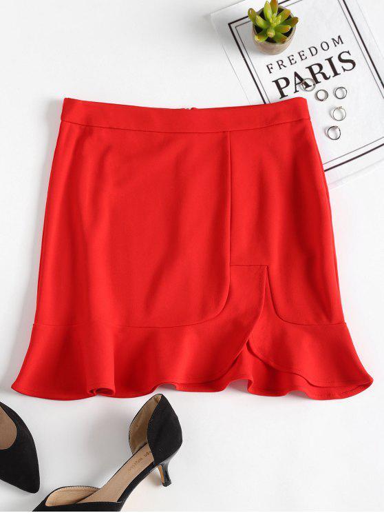 تنورة مصغرة كشكش انقسام - أحمر S