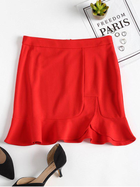 تنورة مصغرة كشكش انقسام - أحمر M