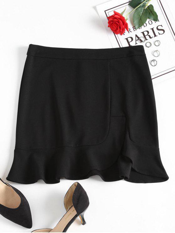 تنورة مصغرة كشكش انقسام - أسود S