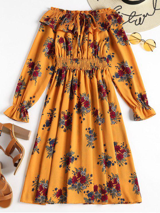 فستان طويلة الأكمام بلا اكتاف - الحافلة المدرسية الصفراء مقاس واحد
