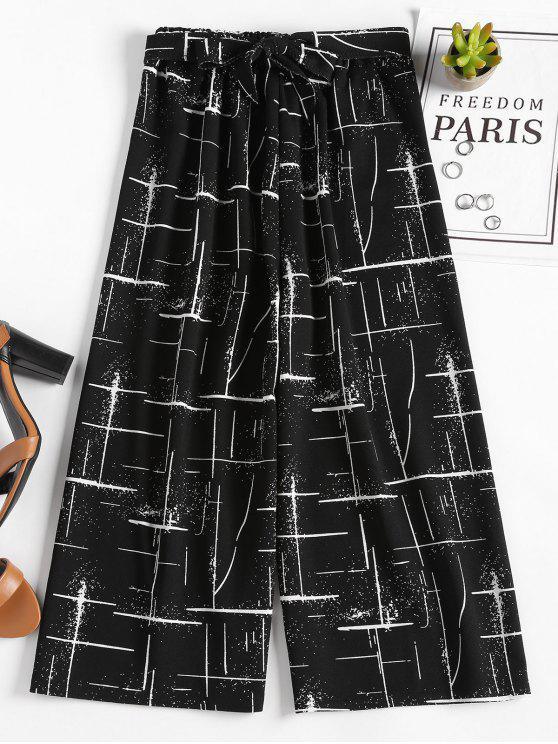 سروال واسع مطبع - أسود مقاس واحد