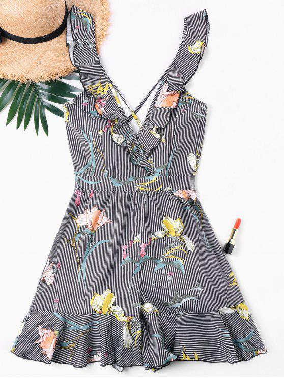 outfit Striped Flower Ruffle Romper - COLORMIX M