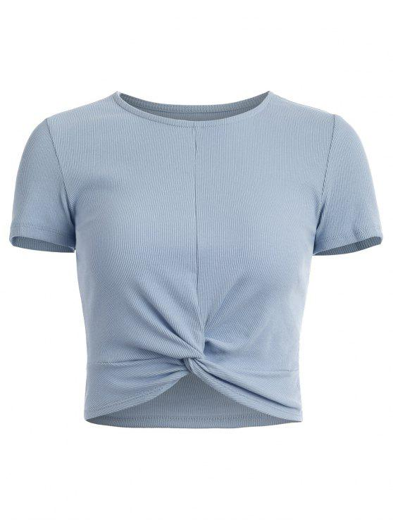 best Cropped Ribbed Twist Top - BABY BLUE M