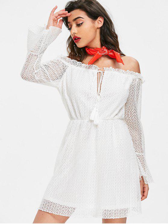 فستان بلا اكتاف محبوك - أبيض L