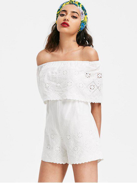 latest Broderie Off The Shoulder Romper - WHITE S