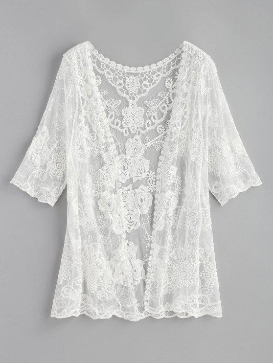 women's Sheer Kimono Top - WHITE ONE SIZE