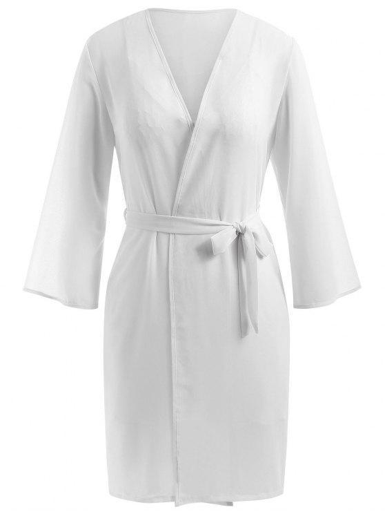 طقم بيبي دول مع قميص نوم من الشيفون - أبيض XL