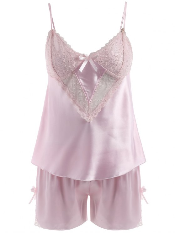 sale Lace Panel Satin Camis and Shorts - LIGHT PINK XL