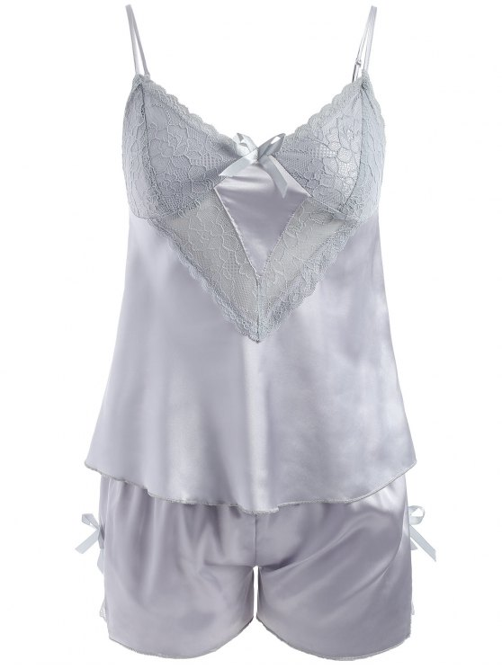 buy Lace Panel Satin Camis and Shorts - BLUE GRAY M