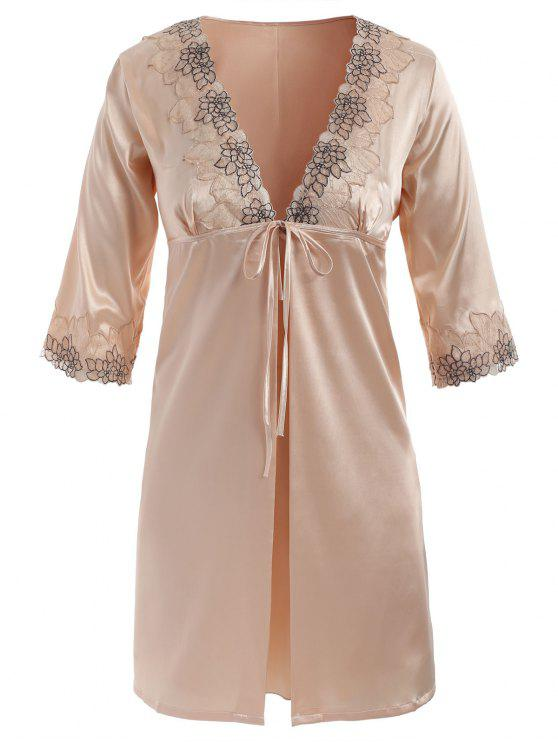 latest Embroidered Satin Babydoll and Kimono - CHAMPAGNE L