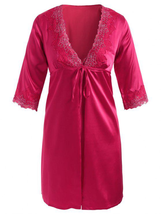 affordable Embroidered Satin Babydoll and Kimono - ROSE RED XL