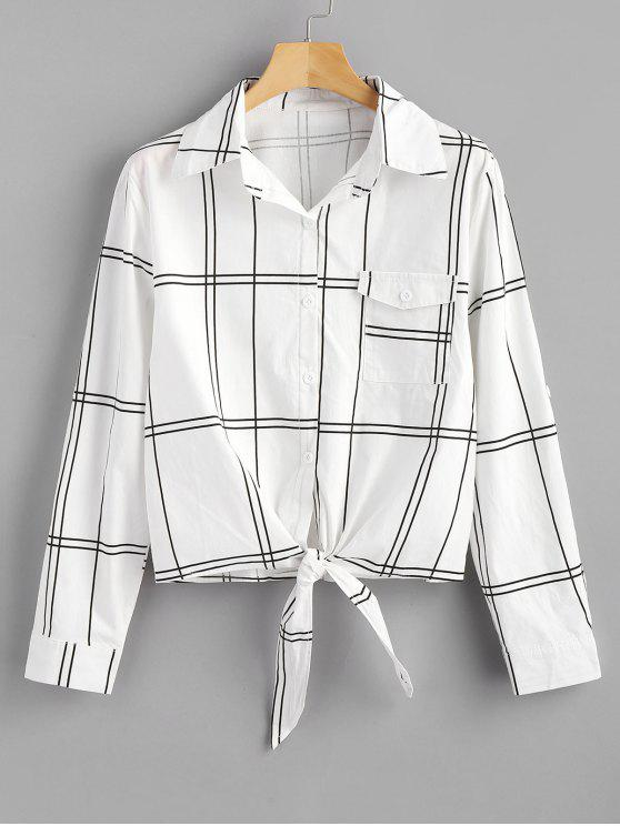 shops Button Down Plaid Knotted Shirt - WHITE XL