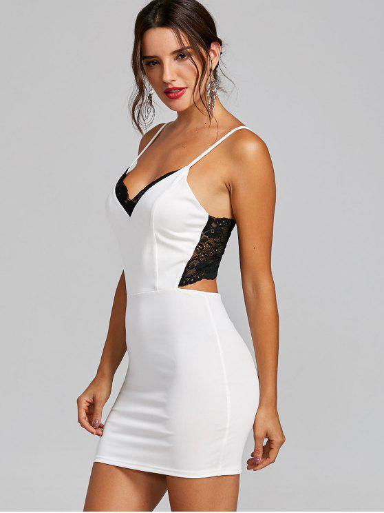 Vestido con tira de espagueti con cuello en V - Blanco L