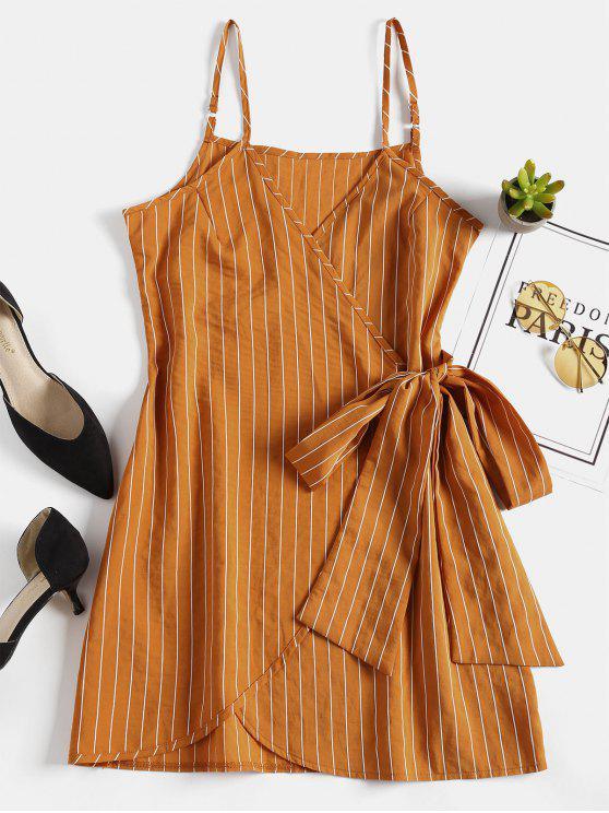 shop Mini Striped Wrap Slip Dress - SCHOOL BUS YELLOW S