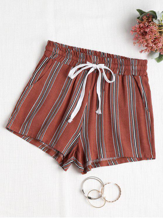 Полосатые шорты с высокой талией - Каштановый  M