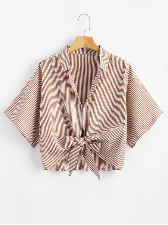 hot Striped Tied Cropped Top - LIGHT BROWN XL