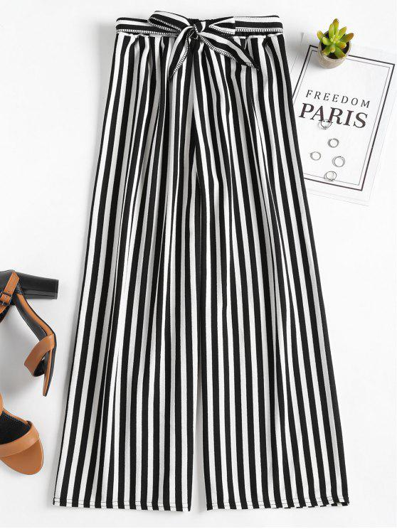 fashion High Waisted Stripes Wide Leg Pants - BLACK ONE SIZE