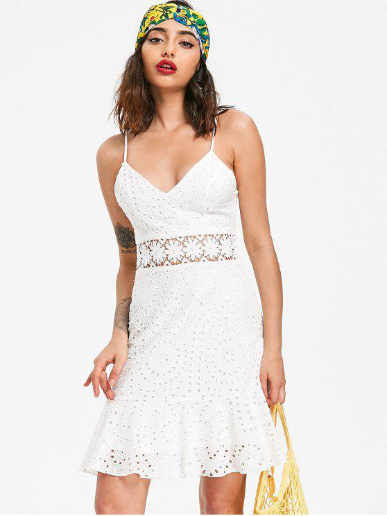 10bd22a6d3477 30% OFF] 2019 Broderie Anglaise Party Sun Dress In WHITE | ZAFUL