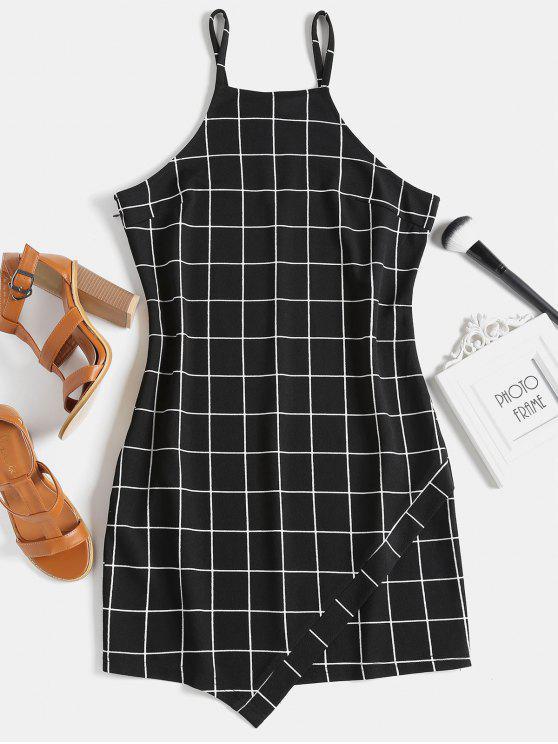 affordable Slip Checked Mini Dress - BLACK L