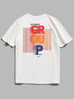 Short Sleeve Letter Pattern Cotton Tee - White L
