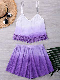 Crochet Trim Tank With Ombre Shorts - Purple L