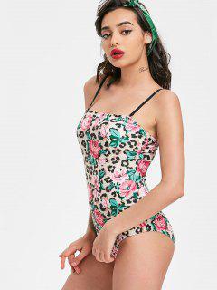 Leopard-Druck Bandeau Blumen Badeanzug - Blumen M